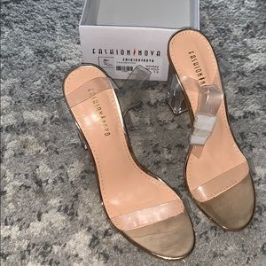 Rose Gold Clear Heels 7.5